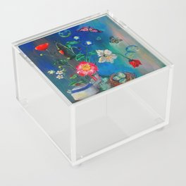 Flowers in Cobalt Acrylic Box