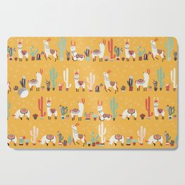 Happy llama alpaca- cute hand drawn illustration Cutting Board