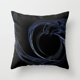 Fractal 6 Dark Blue Heart Throw Pillow
