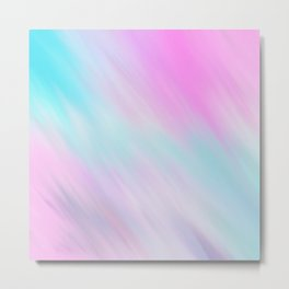 Artsy Pink Teal Watercolor Brushstrokes Metal Print