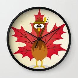Thanksgiving Tribal Turkey Woodland Nursery Wall Clock