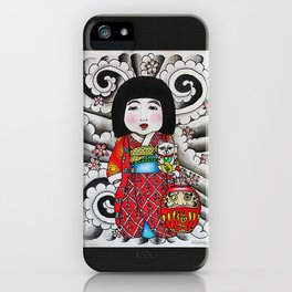 Ichimatsu ningyo, maneki neko and daruma doll  iPhone Case