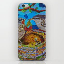 Two Birds In Colorful Nest With Quotes About Wrens iPhone Skin