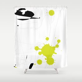 Lime Green Abstract Rick Genest Shower Curtain