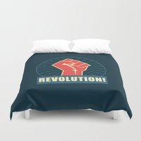 revolution Duvet Covers featuring REVOLUTION! by Word Quirk