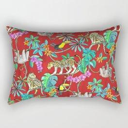 Rainforest Friends - watercolor animals on textured red Rectangular Pillow
