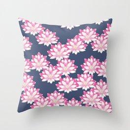 Lotus pattern on dark blue Throw Pillow