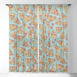 Funny pizza pattern Sheer Curtain