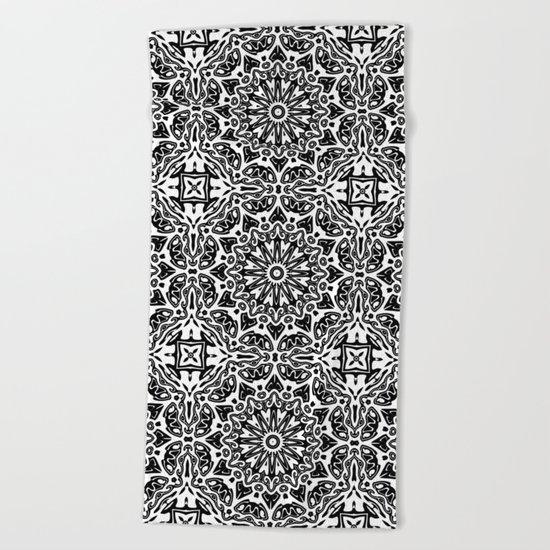 Oriental Pattern black and white Beach Towel