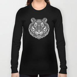 Hand Drawn Tiger - Black Long Sleeve T-shirt