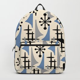 Mid Century Modern Atomic Wing Composition Blue & Grey Backpack