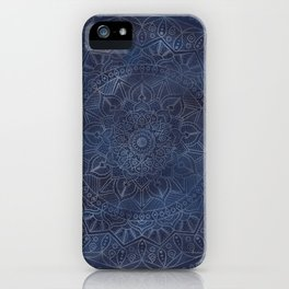 Vintage Circle of Life Mandala full color on blue swirl Distressed iPhone Case