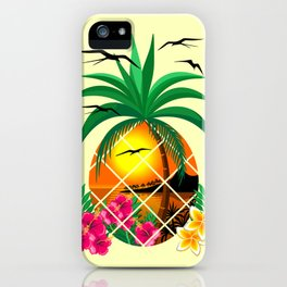 Pineapple Tropical Sunset, Palm Tree and Flowers iPhone Case