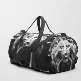 shot on iphone .. lion in brass Duffle Bag