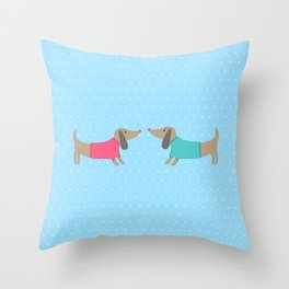 Cute dogs in love with dots in blue background Throw Pillow