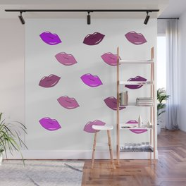 Purple, brown, and pink sensual cartoon lips. Art. Wall Mural