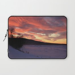 Wintry Sunset over the Porkies Laptop Sleeve