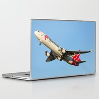 airplanes Laptop & iPad Skins featuring Martinair Cargo McDonnell Douglas MD-11CF Miami take-off Airplanes by Yan David