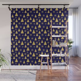 Blue and Gold Christmas Tree Pattern Wall Mural
