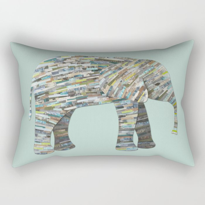 Elephant Paper Collage in Gray, Aqua and Seafoam Rectangular Pillow