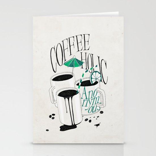 Us And Them: Coffeeholic Anonymous. Stationery Cards