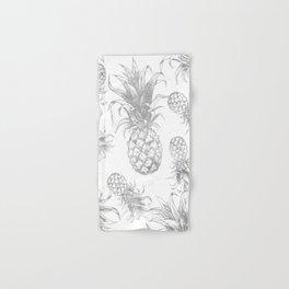 grayscale pineapple pattern, vintage tropical desing Hand & Bath Towel