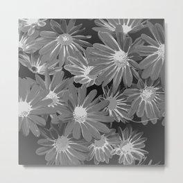 Gray Flowers Metal Print