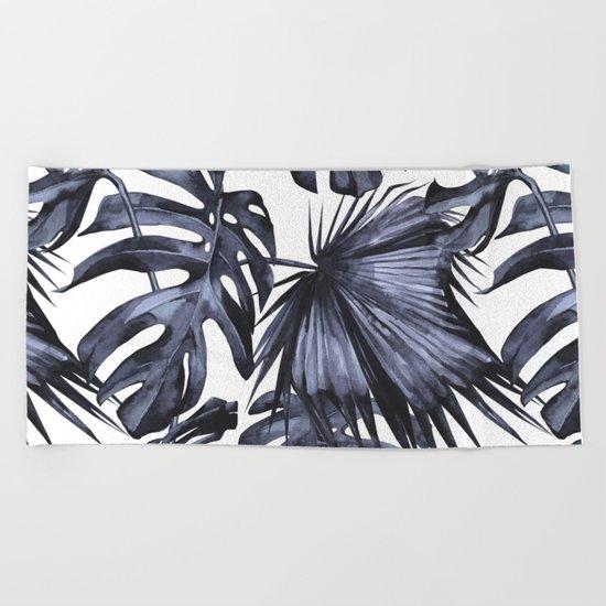 Classic Palm Leaves Navy Blue Beach Towel