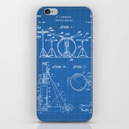 Drum Set Patent - Drummer Art - Blueprint iPhone Skin