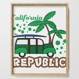 """Summer Tee For Travelers Saying """"California Republic"""" T-shirt Design Palm Trees Vacation Van Summer Serving Tray"""