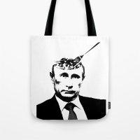 "putin Tote Bags featuring Vlad ""Poutine"" - Putin Pun Portrait by MattSkinnerArt"
