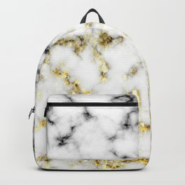 Black and white marble gold sparkle flakes Backpack