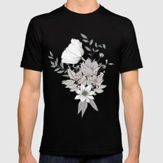 Seamless pattern design with hand drawn flowers and floral elements MEDIUM Mens Fitted Tee Black