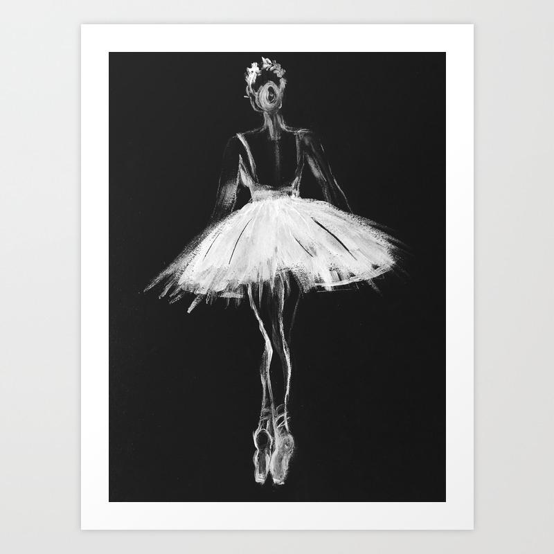 Ballerina Black White Pastel On Black Paper Art Print By Myartspacepr Society6