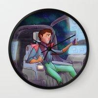 kurt rahn Wall Clocks featuring Space Kurt by CRAZiE-CRiSSiE