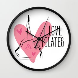 Pilates on reformer and heart Wall Clock