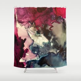 Dark Inks - Alcohol Ink Painting Shower Curtain
