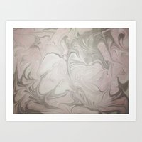 Pink and Grey Marble Art Print
