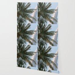 Palm tree below the Burj Khalifa in Dubai   Travel photography art print photo Wallpaper