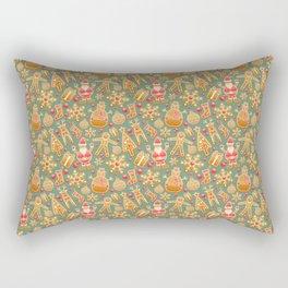 Christmas Green Gingerbread Man Pattern Rectangular Pillow