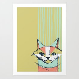 Cubist Cat Study #10 by Friztin Art Print