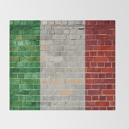 Italy flag on a brick wall Throw Blanket