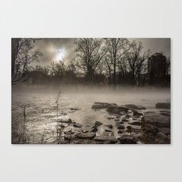 Moon peaks out over a foggy Brandywine River Canvas Print
