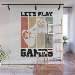 Let's Play Games T Shirt Gaming TShirt Gamer Shirt Retro Vintage Gift Idea Wall Mural