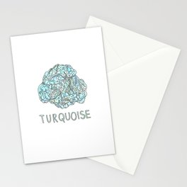 Turquoise Gemstone / December Birthstone Watercolor Painting / Illustration Stationery Cards