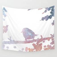birdy Wall Tapestries featuring Birdy by Natashia Lee