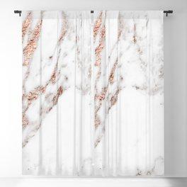 Rose gold foil marble Blackout Curtain