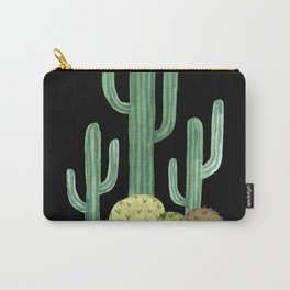 Desert Cacti on Black Carry-All Pouch