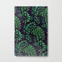Cactus Floral - Green Metal Print