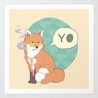 mr fox Art Prints featuring Mr Fox by xephia